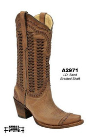 Women's Corral Sand Braided Shaft Western Boot