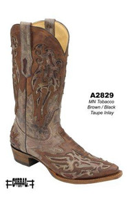 Men's Corral Tobacco Brown with Black and Taupe Inlay Western Boot