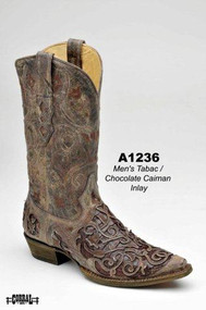 Men's Corral Tobacco with Cognac Caiman Inlay Western Boot