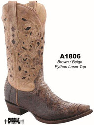 Men's Corral Brown Python Beige Laser Top Western Boot