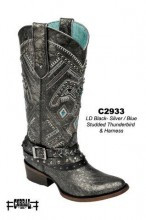 Women's Corral Distressed Black with Silver/blue Thunderbird and Harness Boot