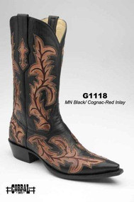 Men's Corral Black with Cognac and Red Inlay Western Boot