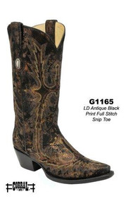 Women's Corral Antique Black Gold Print with Full Stitch Western Boot