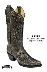 Women's Corral Metallic Gold/Black Sequence Butterfly Western Boot