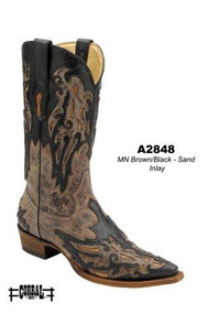Men's Corral Brown with Black and Sand Inlay Cowboy Boot