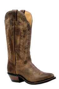 Women's Boulet Brown Medium Toe Western Boot with Rubber Sole