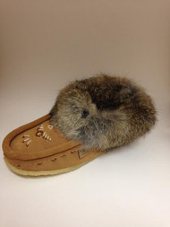 Women's Laurentian Chief Mocha Rabbit Fur with Gum Sole Moccasin