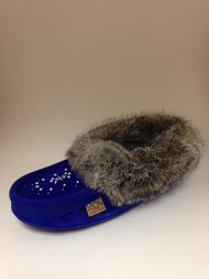 Women's Laurentian Chief Royal Blue Rabbit Fur Moccasin