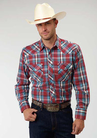 Men's Roper Red & Blue Plaid Longsleeve