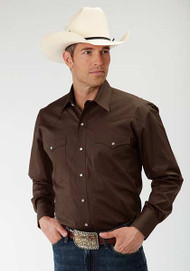 Men's Roper Solid Chocolate Longsleeve Dome Snap Shirt