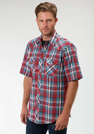 Men's Roper Red & Blue Plaid Short Sleeve Shirt