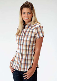 Women's Roper Goldenrod Plaid Short Sleeve Shirt