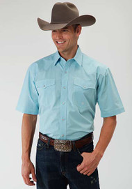 Men's Roper Amarillo Plaid Snap Turquoise Shirt