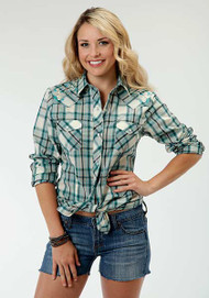 Women's Roper Turquoise Plaid with Embroidered Flowers Western Shirt