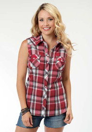 Women's Roper Red and Black Plaid Sleeveless Shirt