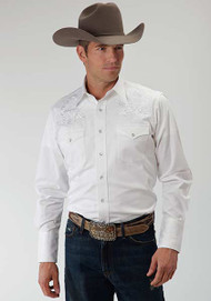 Men's Roper White Shirt with Embroidery