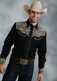 Men's Roper Black Long Sleeve with Cream Embroidery