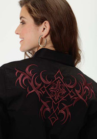 Women's Roper Black Shirt with Burgundy Tribal Embroidery