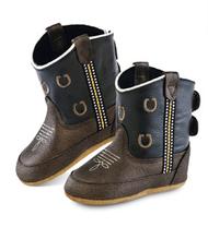 Old West Brown Horseshoe Kid's Cowboy Boots (Infant's sz 0-4)