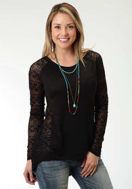 Women's Roper Black Sweater with Lace