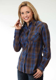 Women's Roper Brown & Blue Plaid Longsleeve Shirt