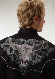 Men's Roper Black Shirt with Embroidered Steer Head