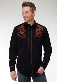 Men's Roper Shirt Black with Classic Tooling