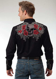 Men's Roper Black Rose and Skull Embroidery