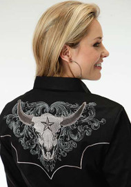 Women's Roper Black with Grey Steer Head Western Shirt
