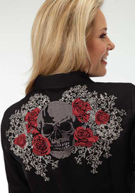 Women's Roper Black with Rose and Skull Western Shirt