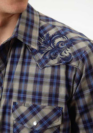 Men's Roper Grey and Blue Plaid with Embroidery