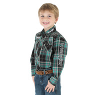 Boy's Wrangler Green and Black Plaid Logo Shirt