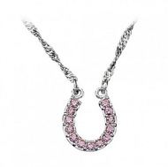 Montana Silversmiths Pink Ice Lucky Horseshoe Necklace