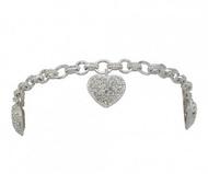 Montana Silversmiths Puffy Pave Heart Link Bracelet