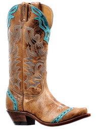 Women's Boulet Tan and Turquoise Western Boot