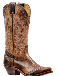 Women's Boulet Brown and Tan Cowboy Boot