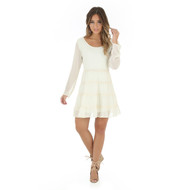Women's Wrangler Long Sleeve Dress with Tiered Skirt with Crochet