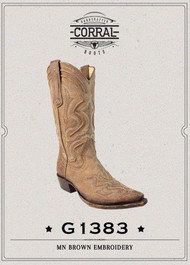 Men's Corral Brown/Tan Cowboy Boot with Raised Embroidery
