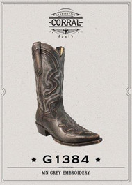 Men's Corral Grey Boot with Raised Embroidery