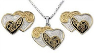 Montana Silversmiths Double Heart Jewelry Set