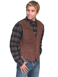 Men's Scully Brown Suede Western Vest