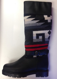 Women's Paul Brodie Pendleton Winter Boot Black with Grey and Red Blanket