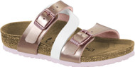 Birkenstock Kids Salina Soft Metallics Rose White