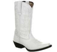 Women's Durango White Leather Narrowed Square Toe Boot