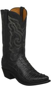 Men's Lucchese Franklin Black Hornback Caiman Western Boot