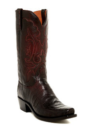 Men's Lucchese Black Cherry Caiman Belly Western Boot