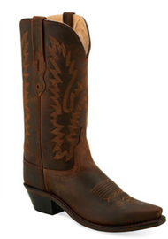 Women's Old West Oiled Brown Snip Toe Western Boot