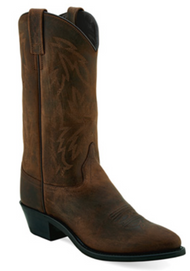 Women's Old West Oiled Brown Narrow Round Toe Western Boot