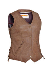 Women's Unik Leather Arizona Brown Vest