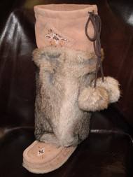 "Laurentian Chief Women's Rabbit Fur 16"" Mocka Mukluks"
